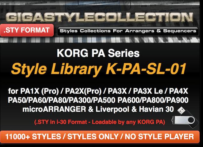 Korg PA1X PA2X PA3X PA4X PA900 PA600 all PAs & EK-50 - 11200 Styles