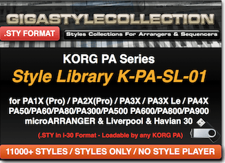 Korg PA4X PA1000 PA700 PA3X PA900 PA600 PA2X PA800 PA1X all PA & EK-50 EK-50L XE20 XE20SP i3 (2020) - 11200 Styles