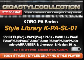 Korg PA4X PA1000 PA700 PA3X PA900 PA600 PA2X PA800 PA1X All PAs & EK-50 EK-50L XE20 XE20SP I3 (2020)- 11200 Styles