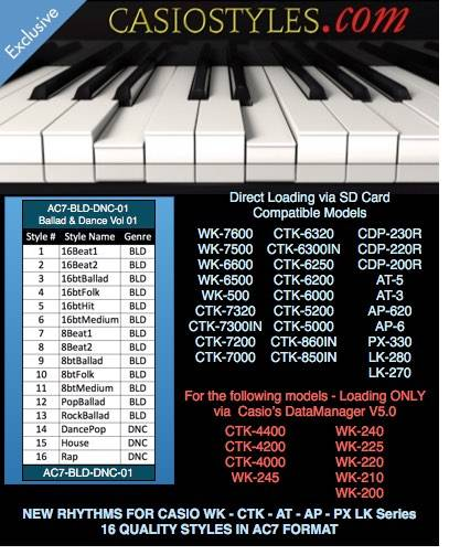 Casio-AC7-Ballad-Dance-Vol-01 For CTK and WK
