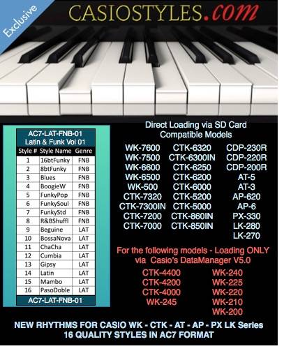 Casio-AC7-Latin-Funk-Vol-01 עבור CTK ו- WK