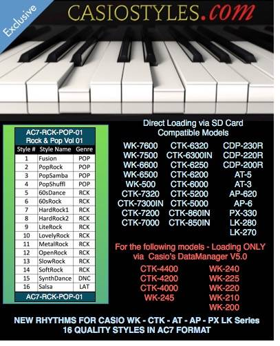 Casio-AC7-Rock-Pop-Vol-01 For CTK CTX And WK