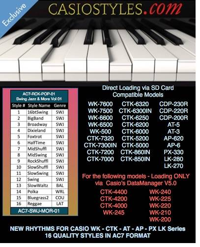 Casio-AC7-Swing-Jazz-More-Vol-01 עבור CTK ו- WK