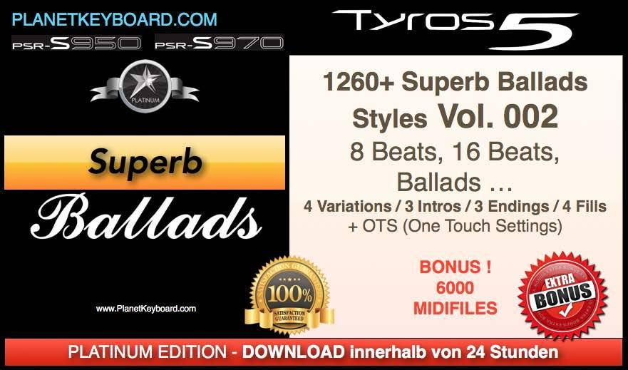 PlanetKeyboard 1260 Superb Ballads Styles Vol 02 For Genos PSR-SX900 PSR-SX700 Tyros 3 Tyros 4 Tyros 5 And PSR-S Series