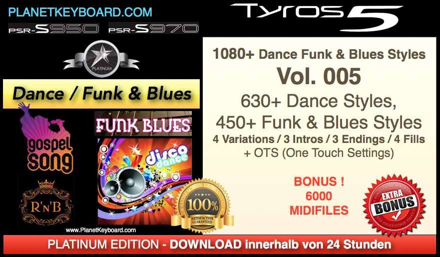PlanetKeyboard 1080 Dance Funk And Blues Vol 005 Styles For Tyros 3 Tyros 4 Tyros 5 And PSR-S Series