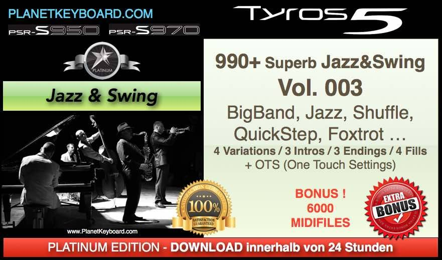 PlanetKeyboard 990 Superb Jazz and Swing Styles Vol 003 For Tyros 3 Tyros 4 Tyros 5 and PSR-S Series