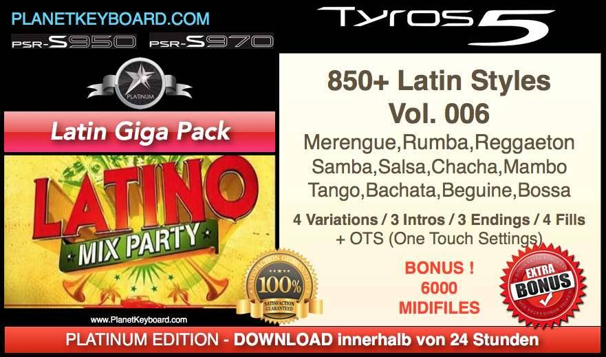 PlanetKeyboard 850 Styles Latin Giga Pack Vol 006 For Genos PSR-SX900 PSR-SX700 PSR-SX600 Tyros 3 Tyros 4 Tyros 5 And PSR-S Series