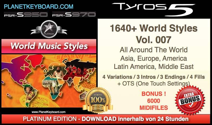 PlanetKeyboard 1640 World Music Styles Vol 007 For Tyros 3 Tyros 4 Tyros 5 And PSR-S Series