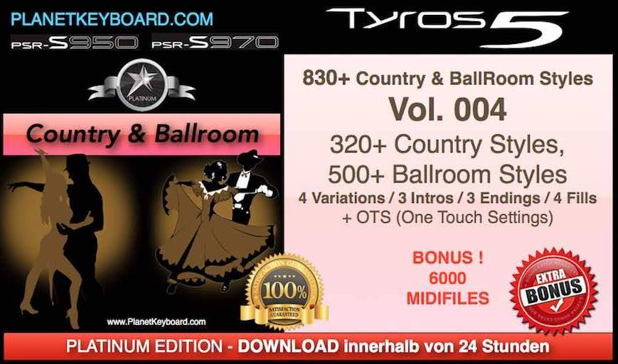 PlanetKeyboard 830 Country and BallRoom Styles Vol 004 For Tyros 3 Tyros 4 Tyros 5 and PSR-S Series