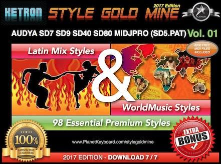 StyleGoldMine Latin Mix World Music Vol 01 Ketron AUDYA SD7 SD9 SD40 SD80 MIDJPRO