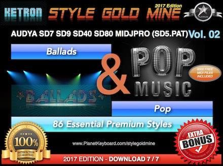 StyleGoldMine Ballads and Pop Vol 02 Ketron AUDYA SD7 SD9 SD40 SD60 SD80 SD90 MIDJPRO