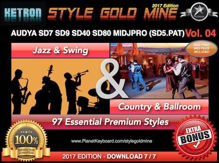 StyleGoldMine Jazz Swing and Country Ballroom Vol 04 Ketron AUDYA SD7 SD9 SD40 SD80 MIDJPRO
