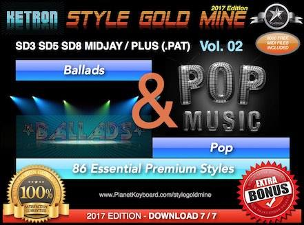StyleGoldMine Ballads and Pop Vol 02 Ketron SD3 SD5 SD8 MIDJAY MIDJAY PLUS