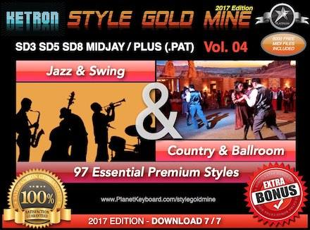 StyleGoldMine Jazz Swing uye Country Ballroom Vol 04 Ketron SD3 SD5 SD8 MIDJAY MIDJAY Plus