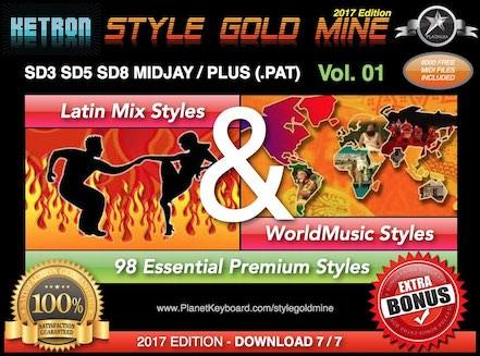 StyleGoldMine Latin Mix World Music Vol 01 Ketron SD3 SD5 SD8 MIDJAY MIDJAY PLUS