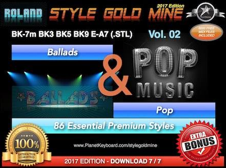 StyleGoldMine Ballads And Pop Vol 02 Roland BK Series BK-7m BK7 BK-5 BK-3 BK-9 E-A7