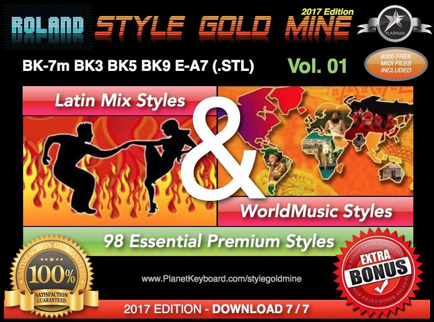 StyleGoldMine Latin Mix World Music Vol 01 Roland BK Series BK-7m BK7 BK-5  BK-3 BK-9 E-A7
