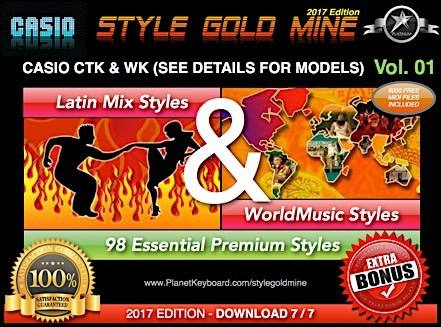 StyleMina d'or Latin Models de verificació Mix World Music Vol 01 Casio CTK i WK
