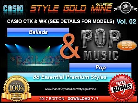 StyleGoldMine Ballads og Pop Vol. 02 Casio CTK og WK Series Check Models