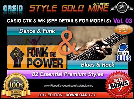 StyleGoldMine Dance Funk And Blues Rock Vol 03 Casio CTK CTX And WK Series Check Models