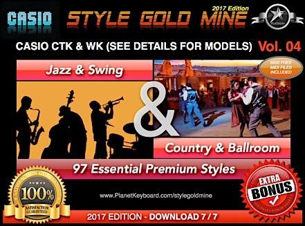 StyleGoldMine Swing Jazz og Country BallRoom Vol 04 Casio CTK og WK Series Check Models