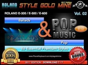 StyleGoldMine Ballads and Pop Vol 02 Roland E500 E600 E300 Series