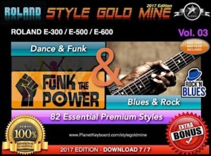 StyleGoldMine Dance Funk and Blues Rock Vol 03 Roland E500 E600 E300 Series