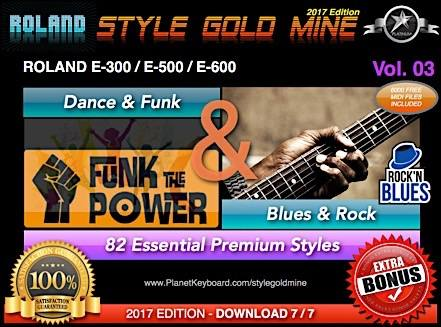 StyleGoldMine Dance Funk en Blues Rock Vol 03 Roland E500 E600 E300 Series