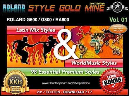 StyleGoldMine Latin Mix World Tónlist Vol 01 Roland G600 G800 RA800 Series