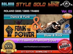 StyleGoldMine Dance Funk and Blues Rock Vol 03 Roland G600 G800 RA800 Series