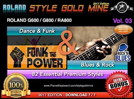 StyleGoldMine Dance Funk og Blues Rock Vol. 03 Roland G600 G800 RA800 Series