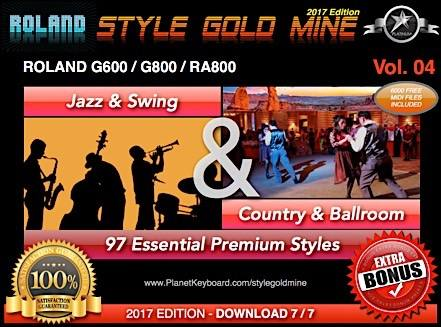 StyleGoldMine Swing Jazz And Country BallRoom Vol 04 Roland G600 G800 RA800 Series