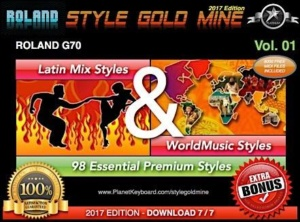 StyleGoldMine Latin Mix World Music Vol 01 Roland G70 Series All Versions