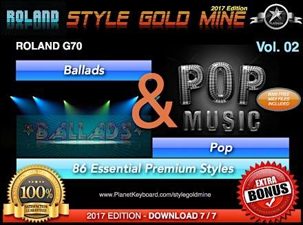 StyleGoldMine Ballads and Pop Vol 02 Roland G70 Series All Versions