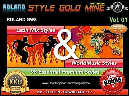 StyleGoldMine Latin Mix World Music Vol. 01 Roland GW8 Series Alle versioner