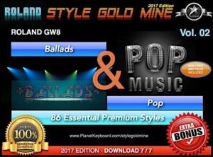 StyleGoldMine Ballads and Pop Vol 02 Roland GW8 Series All Versions