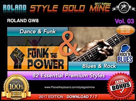 StyleGoldMine Dance Funk og Blues Rock Vol. 03 Roland GW8 Series Alle versioner