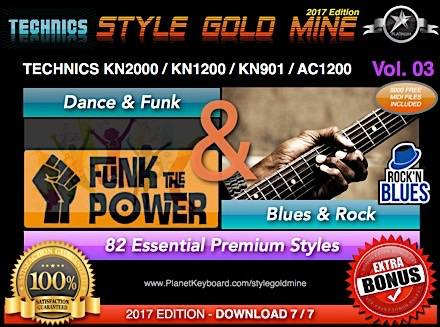 StyleGoldMine Dance Funk og Blues Rock Vol. 03 Tækni KN2000 AC1200 KN1200 KN901