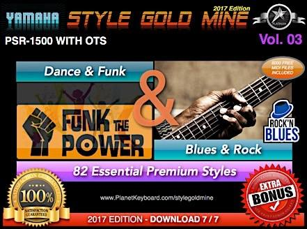 StyleGoldMine Dance Funk og Blues Rock Vol. 03 Yamaha PSR-1500