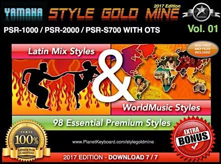 StyleGoldMine Latin Mix World Tónlist Vol 01 Yamaha PSR-1000 PSR-2000 PSR-S700