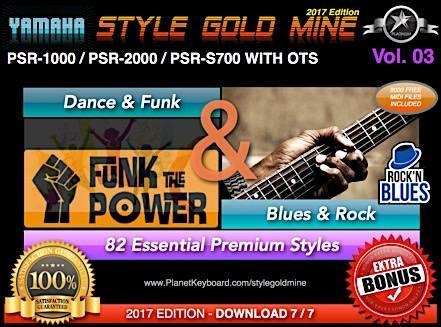 StyleGoldMine Dance Fank va Blues Rock Vol 03 Yamaha PSR-1000 PSR-2000 PSR-S700