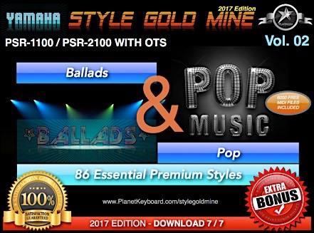 StyleGoldMine Ballads and Pop Vol 02 Yamaha PSR-1100 PSR-2100