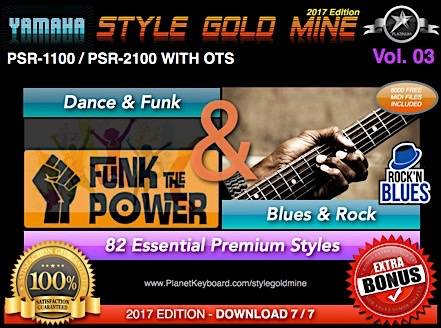 StyleGoldMine Dance Funk og Blues Rock Vol. 03 Yamaha PSR-1100 PSR-2100