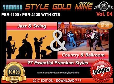 StyleGoldMine Swing Jazz and Country BallRoom Vol 04 Yamaha PSR-1100 PSR-2100