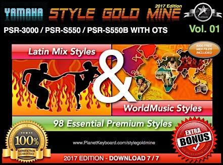 StyleGoldMine Latin Mix World Music Vol 01 Yamaha PSR-3000 PSR-S550 PSR-S550B