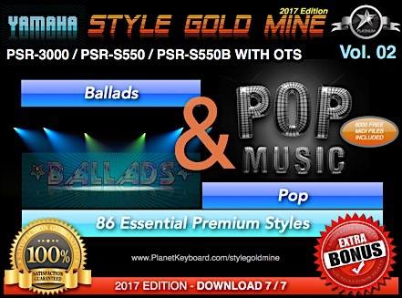 StyleGoldMine Ballads And Pop Vol 02 Yamaha PSR-3000 PSR-S550 PSR-S550B