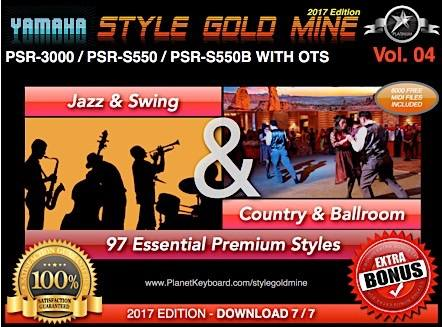 StyleGoldMine Swing Jazz and Country BallRoom Vol 04 Yamaha PSR-3000 PSR-S550 PSR-S550B