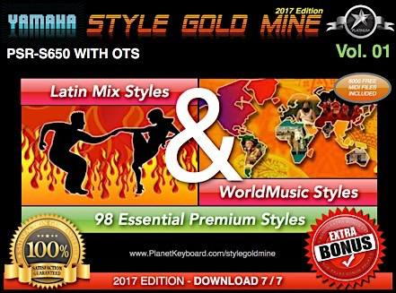 StyleGoldMine Latin Mix World Tónlist Vol 01 Yamaha PSR-S650