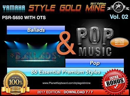 StyleGoldMine Ballads And Pop Vol 02 Yamaha PSR-S650