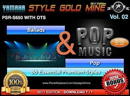 StyleGoldMine Ballads va Pop Vol 02 Yamaha PSR-S650